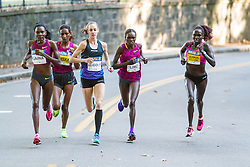 Boston Athletic Association Half Marathon, lead pack of elite women, Saina, Daska, Huddle, Lino, Tuliamik-Bolton