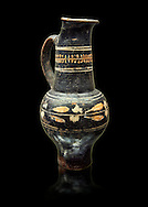 Early 3rd century B.C oenochoe, wine jug, with a trilobata spout, black and overpainted , inv 4380,   National Archaeological Museum Florence, Italy, black background .<br /> <br /> If you prefer to buy from our ALAMY PHOTO LIBRARY  Collection visit : https://www.alamy.com/portfolio/paul-williams-funkystock - Scroll down and type - Etruscan Florence - into LOWER search box. (TIP - Refine search by adding a background colour as well).<br /> <br /> Visit our ETRUSCAN PHOTO COLLECTIONS for more photos to download or buy as wall art prints https://funkystock.photoshelter.com/gallery-collection/Pictures-Images-of-Etruscan-Historic-Sites-Art-Artefacts-Antiquities/C0000GgxRXWVMLyc