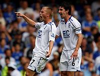 Photo: Richard Lane/Sportsbeat Images. <br />Chelsea v Birmingham. Barclay's Premiership. 12/08/2007. <br />Birmingham's Sebastian Larsson (6) celebrates a goal by Mikael Forsell.