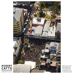 An aerial view of the Go Wellington Cuba St Carnival at Cuba St, Wellington, New Zealand.