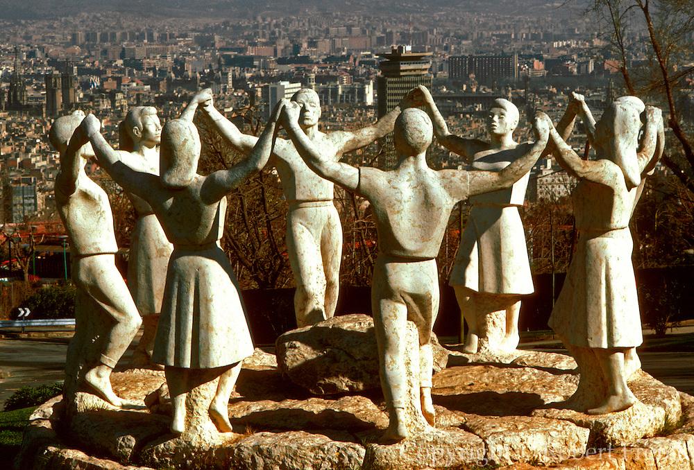 SPAIN, CATALONIA, BARCELONA statue depicting the Sardana, famous Catalan folkdance, located on Montjuich