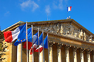 Paris - France - National Assembly - French Flag .<br /> <br /> Visit our FRANCE HISTORIC PLACES PHOTO COLLECTIONS for more photos to download or buy as wall art prints https://funkystock.photoshelter.com/gallery-collection/Pictures-Images-of-France-Photos-of-French-Historic-Landmark-Sites/C0000pDRcOaIqj8E