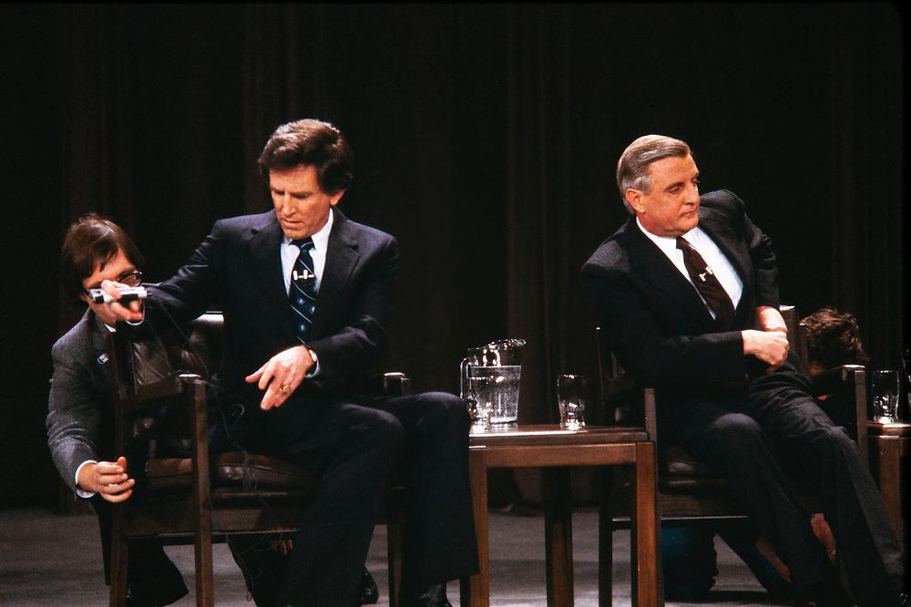1994 Democratic Presidential Debate. Left to Right: Gary Hart, Walter Mondale, John Glenn, George McGovern and Jesse Jackson. Gary Hart (left) and Walter Mondale (right) pre debate.