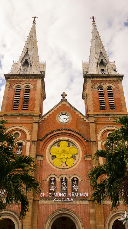 Notre-Dame Cathedral, Basilica of Saigon, officially Cathedral Basilica of Our Lady of The Immaculate Conception is a cathedral located in the downtown of Ho Chi Minh City, Vietnam, Prepared for TET, New Years