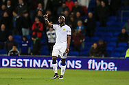 Souleymane Doukara of Leeds Utd celebrates after he scores his teams 1st goal. Skybet football league championship match, Cardiff city v Leeds Utd at the Cardiff city stadium in Cardiff, South Wales on Tuesday 8th March 2016.<br /> pic by  Andrew Orchard, Andrew Orchard sports photography.