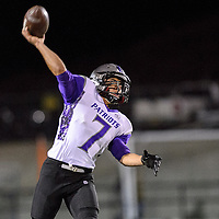 110714       Adron Gardner/Independent<br /> <br /> Miyamura Patriot Josiah Shank (7) releases a pass at Fred Cook Memorial Stadium in Aztec Friday.