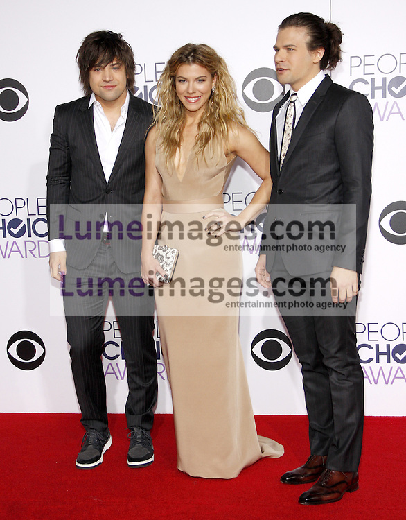 Reid Perry, Kimberly Perry and Neil Perry of The Band Perry at the 41st Annual People's Choice Awards held at the Nokia L.A. Live Theatre in Los Angeles on January 7, 2015. Credit: Lumeimages.com