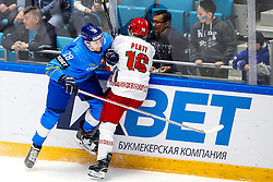Arkadi Shestakov of Kazakhstan and Geoff Platt of Belarus during ice hockey match between Kazakhstan and Belarus at IIHF World Championship DIV. I Group A Kazakhstan 2019, on May 4, 2019 in Barys Arena, Nur-Sultan, Kazakhstan. Photo by Matic Klansek Velej / Sportida