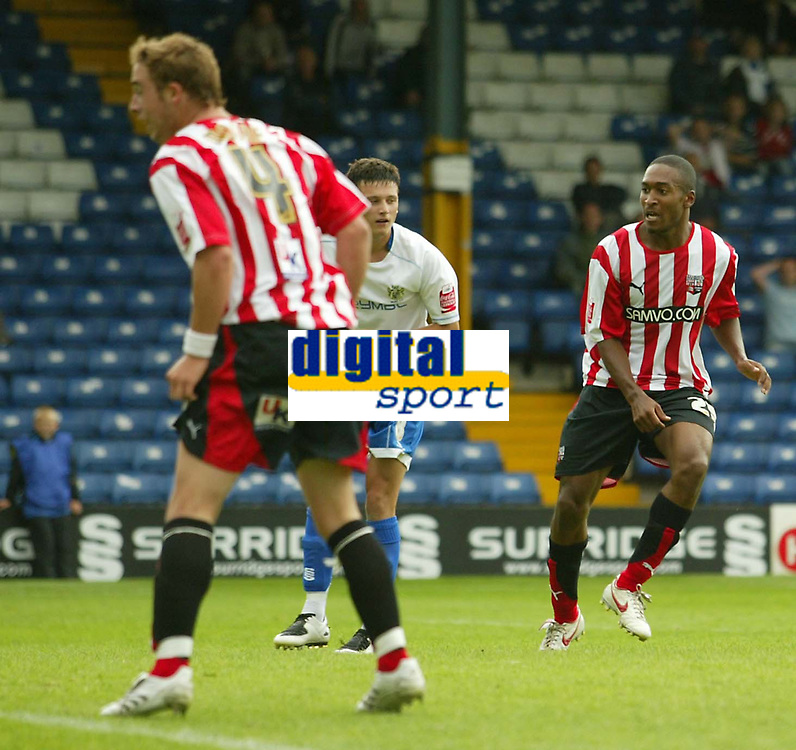Photo: Aidan Ellis.<br /> Bury FC v Brentford. Coca Cola League 2. 01/09/2007.<br /> Brentford's Ricky Shakes watches his shot go in for the winning goal