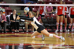29 October 2011: Jenny Menendez falls right to get a saving dig During a match between the Creighton Bluejays and the Illinois State Redbirds at Redbird Arena in Normal Illinois