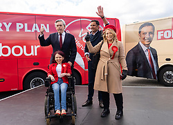 Glasgow, Scotland, UK. 5 May 2021. Scottish Labour Leader Anas Sarwar and former Prime Minister Gordon Brown appear at an eve of polls drive-in campaign rally in Glasgow today. Labour candidate Pam Duncan-Glancy and Pauline McNeill on stage with Gordon Brown and Anas Sarwar.   Iain Masterton/Alamy Live News
