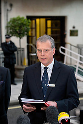 © London News Pictures. File picture dated 07/12/2012. John Lofthouse Chief Executive of the King Edward VII Hospital in London speaking to media outside King Edward VII Hospital  on December 07, 2012 following the suicide of nurse Jacintha Saldanha. Reports have today suggested that Jacintha Saldanha was critical of staff at the hospital in her suicide note.  Photo credit: Ben Cawthra/LNP