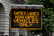 London, UK. Wednesday 25th July 2012. Sign advising motorists that they are now not allowed to use the Games lanes on the Olympic Route Network. Transport is a huge issue in and around the London 2012 Olympic Games. With many roads closed off to regular traffic, the inevitable problems occur.