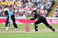 Sussex's Jofra Archer run out during the Vitality T20 Finals Day semi final 2018 match between Sussex Sharks and Somerset at Edgbaston, Birmingham, United Kingdom on 15 September 2018.