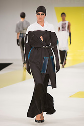 © Licensed to London News Pictures. 01/06/2015. London, UK. Collection by Katie Steele. Fashion show of De Montfort University (Leicester) at Graduate Fashion Week 2015. Graduate Fashion Week takes place from 30 May to 2 June 2015 at the Old Truman Brewery, Brick Lane. Photo credit : Bettina Strenske/LNP