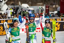 Katharina Truppe (AUT) and Wendy Holdener (SUI) and Petra Vlhova (SVK) celebrating at the Ladies' Slalom at 56th Golden Fox event at Audi FIS Ski World Cup 2019/20, on February 16, 2020 in Podkoren, Kranjska Gora, Slovenia. Photo by Matic Ritonja / Sportida