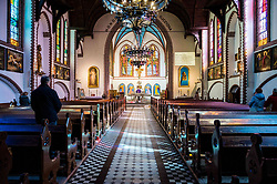Empty streets in Gdansk during coronavirus outbreak in Poland. Empty churches during Sunday mass due to coronavirus epidemic. Pictured from Holy Mass in the church Jerzy in Sopot, Poland, on March 14, 2020. Photo by Fotomag/Newspix/ABACAPRESS.COM