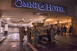 September 22, 2016 - Charlotte, North Carolina, U.S - Members of the National Guard deployed in the city of Charlotte to help police to keep the situation under control (Credit Image: © Dimitrios Manis via ZUMA Wire)