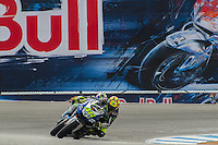 Valentino Rossi #46 of Team Yamaha edges out a competitor during the MotoGP race at Mazda Raceway in Monterray, California. (Marissa Baecker/Shoot the Breeze)