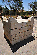 Israel, Negev, Tel Be'er Sheva believed to be the remains of the biblical town of Be'er Sheva. Reconstruction of the horned Altar. The Original is in the Israel Musuem Jerusalem