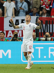 MOSCOW, July 11, 2018  Kieran Trippier of England celebrates scoring during the 2018 FIFA World Cup semi-final match between England and Croatia in Moscow, Russia, July 11, 2018. (Credit Image: © Yang Lei/Xinhua via ZUMA Wire)