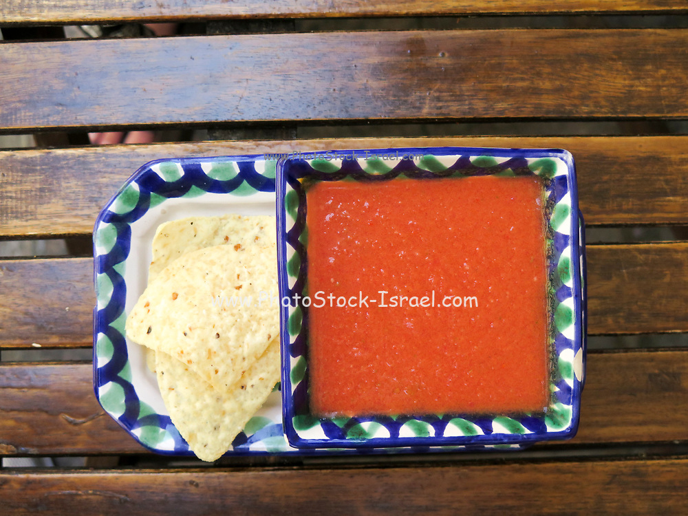Corn Tortilla Chips with red salsa