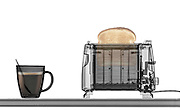 Toaster with toast and a cup of coffee under x-ray