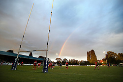 A general view of Sale Sharks v Edinburgh Rugby as a rainbow forms over the Heywood Road Stadium - Mandatory by-line: Matt McNulty/JMP - 19 August 2016 - RUGBY - Heywood Road Stadium - Manchester, England - Sale Sharks v Edinburgh Rugby - Pre-Season Friendly