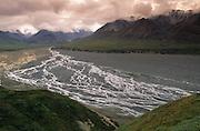 "Alaska. Denali NP. Thoroughfare River, a ""braided"" glacial stream."