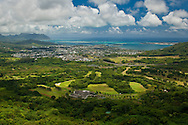 Looking out toward Kaneohe from the Pali