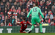 James Milner of Liverpool clears of the line after Ryan Fraser of Bournemouth lobbed Adrian of Liverpool during the Premier League match at Anfield, Liverpool. Picture date: 7th March 2020. Picture credit should read: Darren Staples/Sportimage