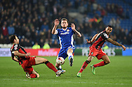 Cardiff city's Joe Ralls © gets in between  Marc Pugh (l) and Callum Wilson ® of AFC Bournemouth. Skybet football league championship, Cardiff city v AFC Bournemouth at the Cardiff city stadium in Cardiff, South Wales on Tuesday 17th March 2015.<br /> pic by Andrew Orchard, Andrew Orchard sports photography.