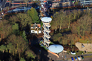 Nederland, Gelderland, Nunspeet, 20-01-2011; Veluwetransferium Nunspeet. Het transferium met uitkijktoren als blikvanger, ligt vlak bij de afrit A28, het station is op loopafstand...Transfer point Veluwetransferium, next to the railway station with the watchtower as landmark. .luchtfoto (toeslag), aerial photo (additional fee required).copyright foto/photo Siebe Swart