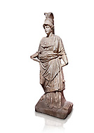 Roman statue of Athena. Marble. Perge. 2nd century AD. Inv no . Antalya Archaeology Museum; Turkey. Against a white background. .<br /> <br /> If you prefer to buy from our ALAMY STOCK LIBRARY page at https://www.alamy.com/portfolio/paul-williams-funkystock/greco-roman-sculptures.html . Type -    Antalya     - into LOWER SEARCH WITHIN GALLERY box - Refine search by adding a subject, place, background colour, museum etc.<br /> <br /> Visit our ROMAN WORLD PHOTO COLLECTIONS for more photos to download or buy as wall art prints https://funkystock.photoshelter.com/gallery-collection/The-Romans-Art-Artefacts-Antiquities-Historic-Sites-Pictures-Images/C0000r2uLJJo9_s0