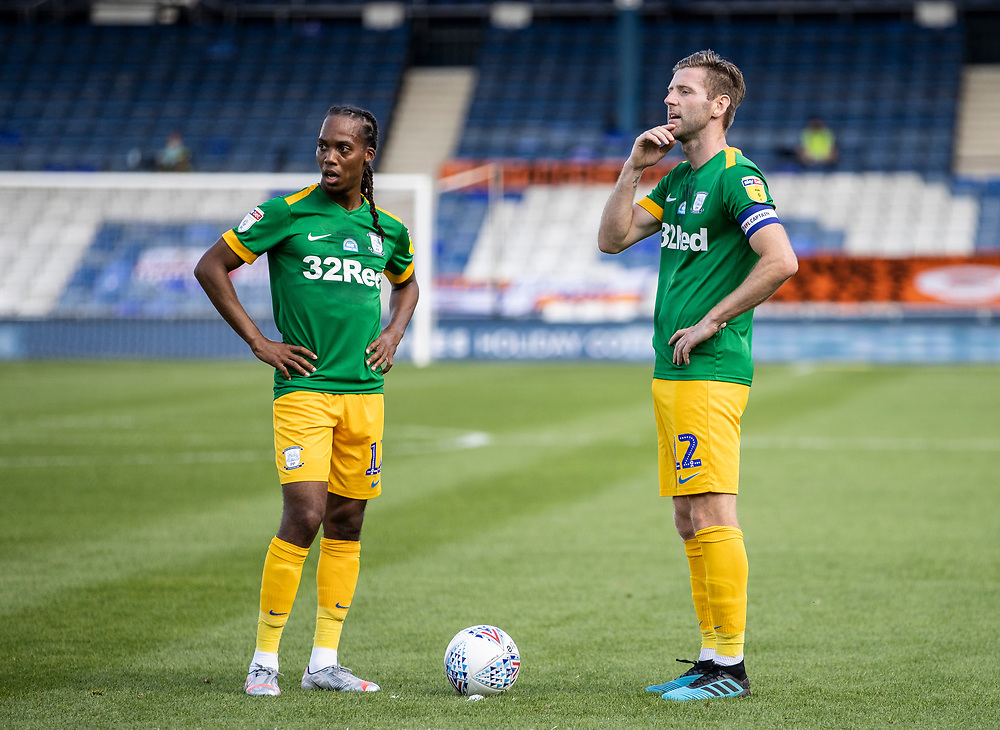 Preston North End's Daniel Johnson (left) and Paul Gallagher (right) preparing to take a free kick on the edge of the Luton Town penalty area<br /> <br /> Photographer Andrew Kearns/CameraSport<br /> <br /> The EFL Sky Bet Championship - Luton Town v Preston North End - Saturday 20th June 2020 - Kenilworth Road - Luton<br /> <br /> World Copyright © 2020 CameraSport. All rights reserved. 43 Linden Ave. Countesthorpe. Leicester. England. LE8 5PG - Tel: +44 (0) 116 277 4147 - admin@camerasport.com - www.camerasport.com