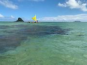 Outrigger Sailing Canoe, Kualoa, Kaneohe Bay, Oahu, Hawaii