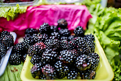 December 11, 2016 - Sao Paulo, Sao Paulo, Brazil - Blackberries at the Municipal Market (Mercadao), in Sao Paulo, Brazil on 11 December 2016. In addition to the items of vegetables, butcher, fishmonger and emporium (national and imported) gathered in a single space, also has restaurants and snack bars that offer chips with the city's face. (Credit Image: © Cris Faga/NurPhoto via ZUMA Press)