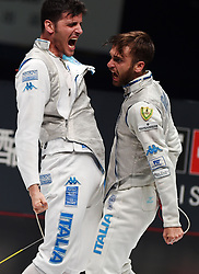 WUXI, July 27, 2018  Daniele Garozzo (R) of Italy celebrates with his teammate after winning the men's foil team final between Italy and the United States at the Fencing World Championships in Wuxi, east China's Jiangsu Province, July 27, 2018. Italy beat US 45-34 and claimed the title of the event. (Credit Image: © Han Yuqing/Xinhua via ZUMA Wire)