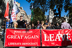 London, UK. 17 September, 2019. Pro-Brexit activists protest outside the Supreme Court on the first day of a hearing to consider whether the Prime Minister broke the law by suspending Parliament in advance of Brexit Day. The purpose of the hearing is to adjudicate as to which of two court rulings should prevail, either a ruling by the High Court that the suspension of Parliament is a political decision to be made by the Prime Minister or a ruling by the Scottish courts that the Prime Minister's actions in proroguing Parliament were unlawful.