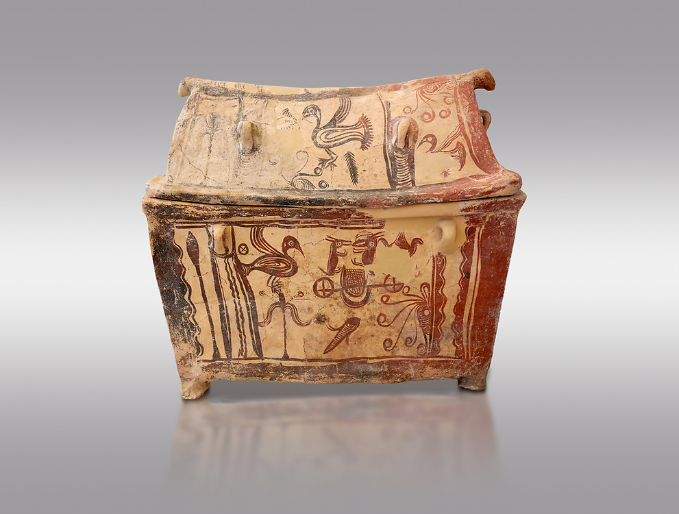 Minoan  pottery gabled larnax coffin chest with birds and marine animals,  Anthanatoi 1370-1250 BC, Heraklion Archaeological  Museum, grey background. .<br /> <br /> If you prefer to buy from our ALAMY PHOTO LIBRARY  Collection visit : https://www.alamy.com/portfolio/paul-williams-funkystock/minoan-art-artefacts.html . Type -   Heraklion   - into the LOWER SEARCH WITHIN GALLERY box. Refine search by adding background colour, place, museum etc<br /> <br /> Visit our MINOAN ART PHOTO COLLECTIONS for more photos to download  as wall art prints https://funkystock.photoshelter.com/gallery-collection/Ancient-Minoans-Art-Artefacts-Antiquities-Historic-Places-Pictures-Images-of/C0000ricT2SU_M9w