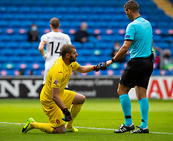 CARDIFF, WALES - Sunday, September 6, 2020: Bulgaria's goalkeeper Georgi Georgiev (L) fist bumps referee Fabio Verissimo during the UEFA Nations League Group Stage League B Group 4 match between Wales and Bulgaria at the Cardiff City Stadium. (Pic by David Rawcliffe/Propaganda)