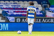Queens Park Rangers midfielder Eberechi Eze (10) lines up a free kick in front of empty stands during the EFL Sky Bet Championship match between Queens Park Rangers and Barnsley at the Kiyan Prince Foundation Stadium, London, England on 20 June 2020.