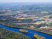 Aerial view along the Wisconsin River looking north into Crawford County, Wisconsin.