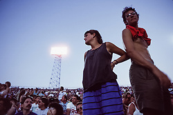 Fans at The Grateful Dead at Foxboro Stadium 2 July 1989. 25th Anniversary Tour. Audience photo taken at dusk.