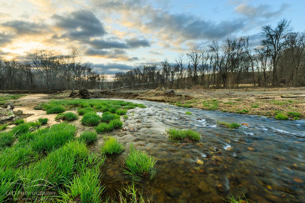 Big Elk Creek in early spring in Elk Township, Pennsylvania.