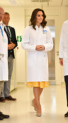 The Duchess of Cambridge dons white lab coats for a visit to the German Cancer Research Institute in Heidelberg, Germany.
