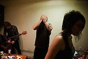"""Guy Davis, Srdjan """"Gino"""" Jevdjevic and Paris Hurley backstage at Gun Club in Belgrade, Serbia..."""