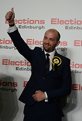 Succesful SNP candidate Ben MacPherson celebrates after being elected as the MSP for Edinburgh Northern & Leith.<br /> © Dave Johnston/ EEm
