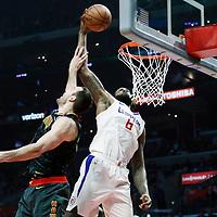 08 January 2018: LA Clippers center DeAndre Jordan (6) dunks the ball over Atlanta Hawks center Miles Plumlee (18) during the LA Clippers 108-107 victory over the Atlanta Hawks, at the Staples Center, Los Angeles, California, USA.