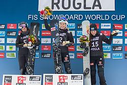 Selina Joerg (GER), Natalia Soboleva (RUS), Cheyenne Loch (GER) celebrates  during Final Run at Parallel Giant Slalom at FIS Snowboard World Cup Rogla 2019, on January 19, 2019 at Course Jasa, Rogla, Slovenia. Photo byJurij Vodusek / Sportida